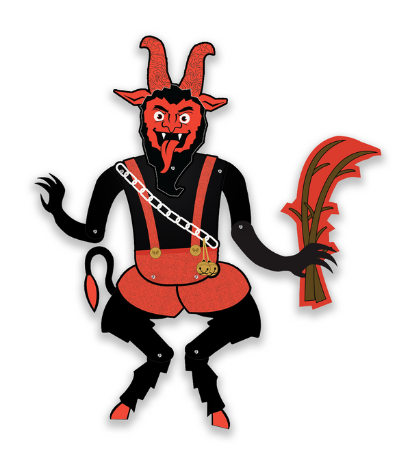Deluxe Jointed Krampus Retro Style Christmas Cutout Decoration