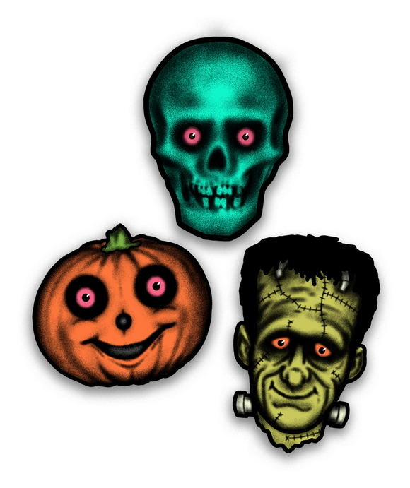 Retro inspired set of three Halloween cutout decorations - this set includes one skull one jack o lantern and one frankenstein