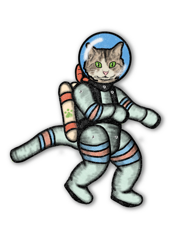 Fully Jointed Space Cat Cutout