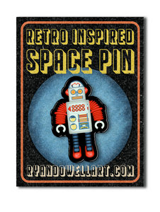 Retro Space Robot Lapel Pin