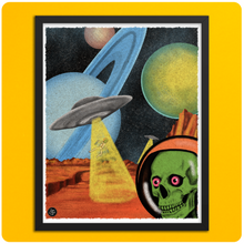 Load image into Gallery viewer, Outer Space Skeleton Abduction Art Poster