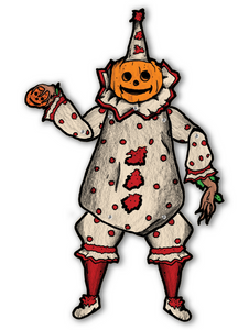 Deluxe Jointed Vintage Style Pumpkin Clown Halloween Decoration