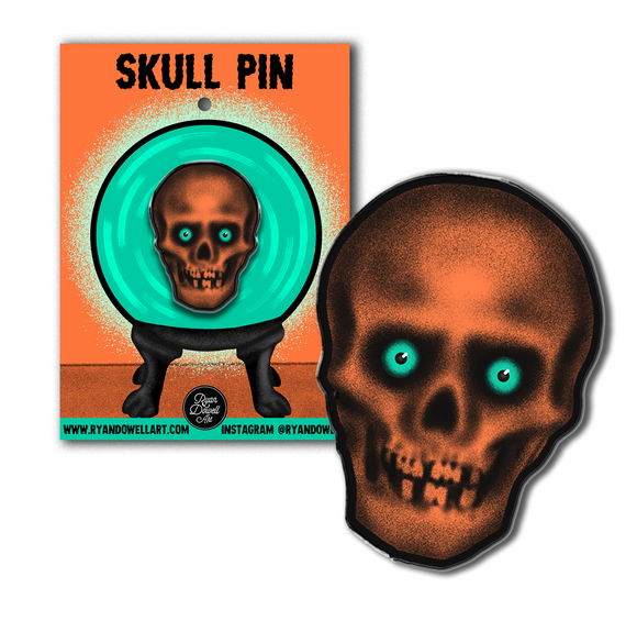 Retro Inspired Creepy Skull Halloween Lapel Pin