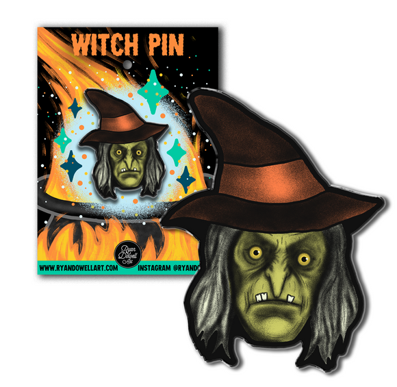 Creepy Witch Halloween Lapel Pin