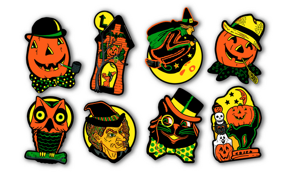 Full Set of 8 Retro Inspired Illuminated Halloween Cutout Decoration Collection