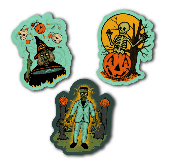Set of 3 Retro Inspired Halloween Night Cutout Decoration Set