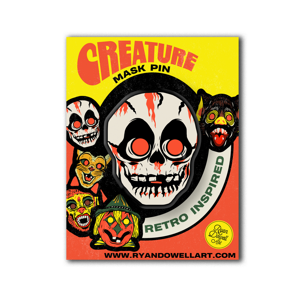 Retro Inspired Creature Halloween Mask Pin Skull Lapel Pin