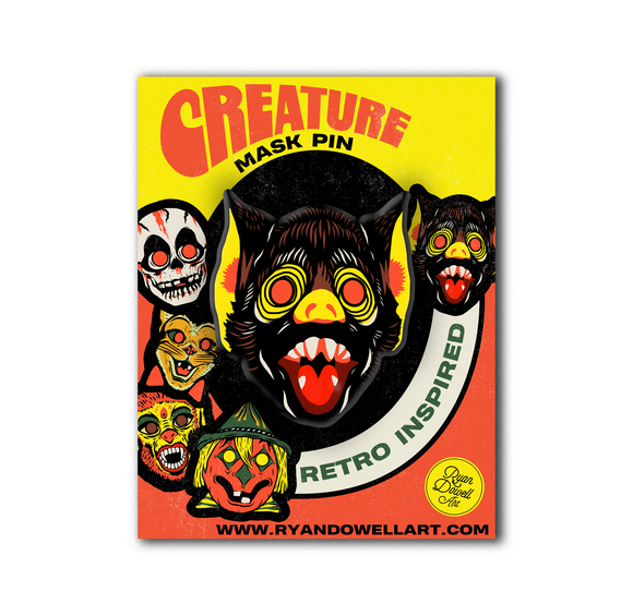 Deluxe Retro Inspired Creature Halloween Mask Pin Bat Lapel Pin