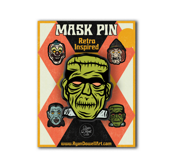 Deluxe Retro Inspired Monster Halloween Mask Pin Frankenstein