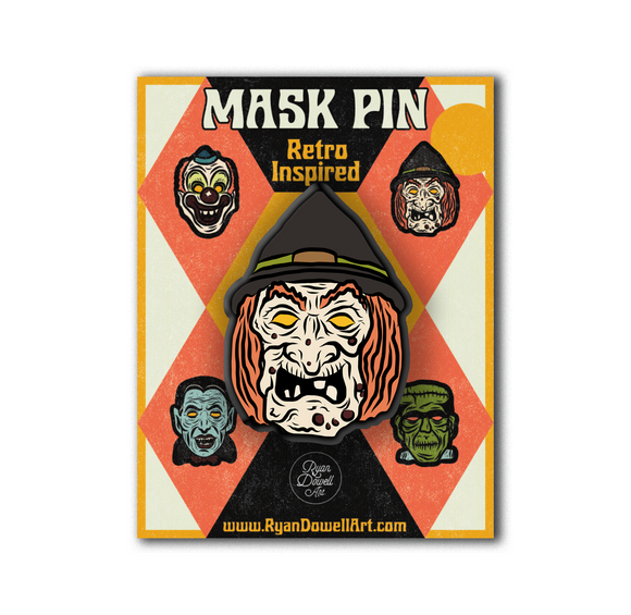 Deluxe Retro Inspired Monster Mask Halloween Witch Pin