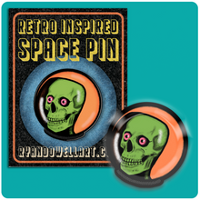 Load image into Gallery viewer, Retro Space Skeleton Lapel Pin