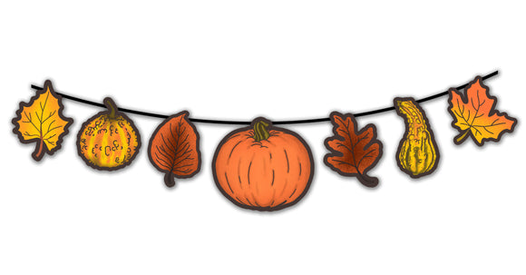 Retro Inspired Autumn Pumpkin, Leaves & Gourds Cutout Banner