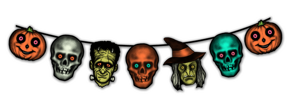 Retro Inspired  Halloween Creature Heads Cutout Banner