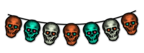 Retro Inspired Halloween Skull Heads Cutout Banner