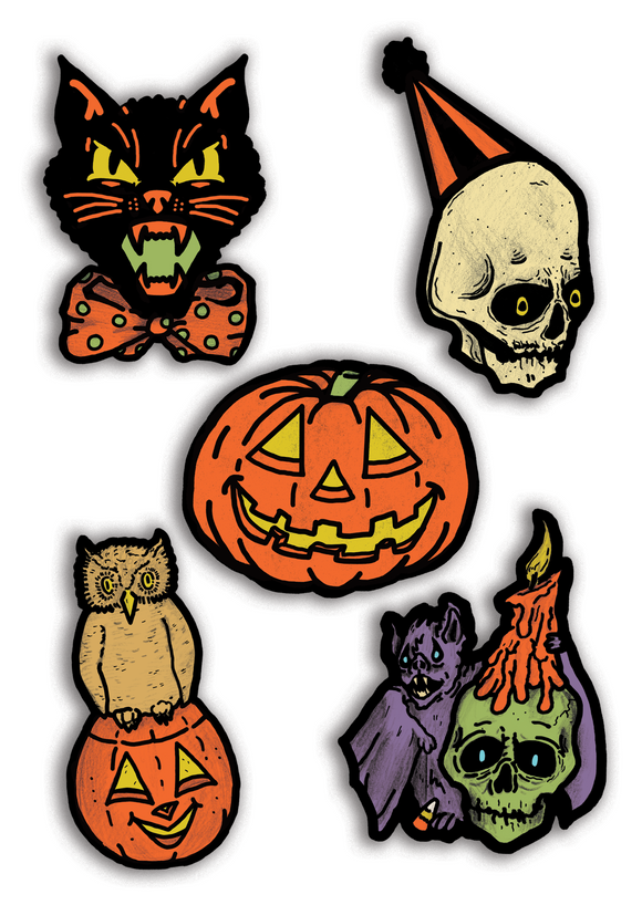 Classic Retro Inspired Halloween Icons Cutout Set of 5