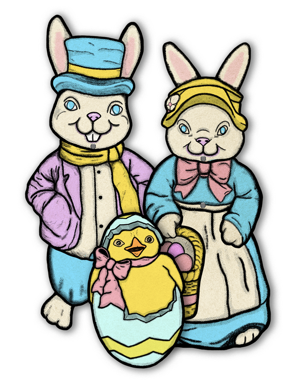 Large Easter Jointed Cutout Decoration Set of 3 - Vintage Inspired Tribute to Blowmold Empire Mr Bunny, Mrs Bunny & Spring Chick in Egg