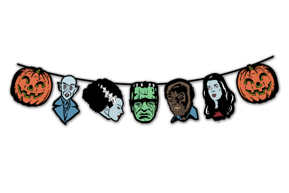 Retro Inspired Horror Monsters of Halloween Character Banner