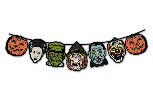 Retro Inspired Vacuform Plastic Mask Halloween Character Banner