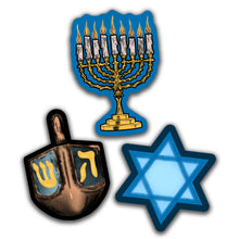 Load image into Gallery viewer, Retro Inspired Hanukkah Cutout Set of 3