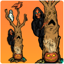 Load image into Gallery viewer, Retro Style Deluxe Halloween Spooky Tree Cutout Decoration
