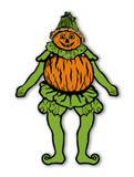 Vintage Inspired Pumpkin Goblin Jointed Halloween Decoration