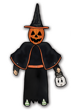 Load image into Gallery viewer, Halloween III Silver Shamrock Jack o Lantern Trick or Treater Deluxe Jointed Cutout Decoration