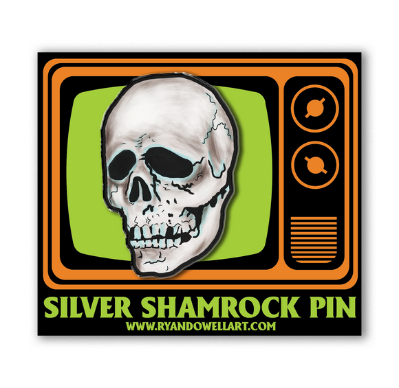 Halloween III Season of the Witch Silver Shamrock Skull Lapel Pin