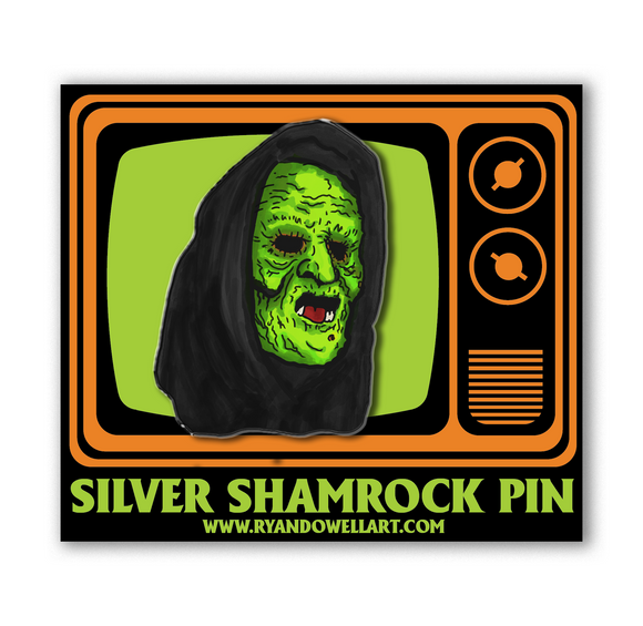 Halloween III Season of the Witch Silver Shamrock Witch Lapel Pin