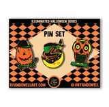 Illuminated Halloween Collection Mini Lapel Pin Set of 3