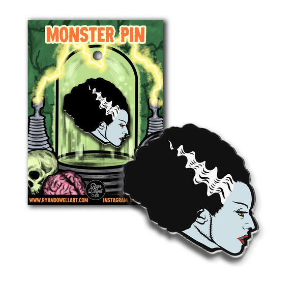 Bride of Frankenstein Halloween Monster Lapel Pin