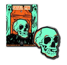 Load image into Gallery viewer, Green Graveyard Skull Halloween Lapel Pin