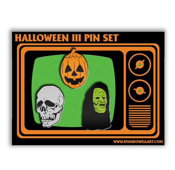 Halloween III Season of the Witch Silver Shamrock Mask Heads Pin Set