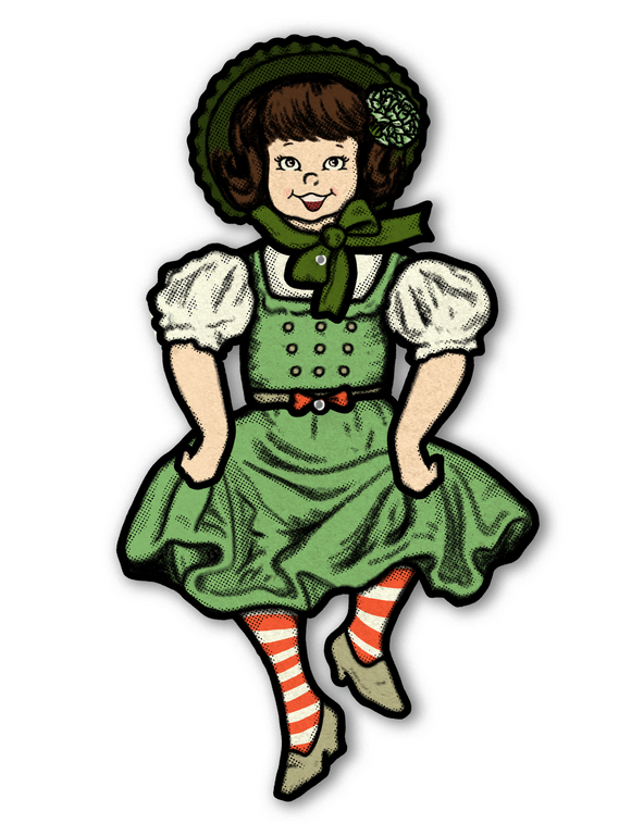 Jointed St Patrick's Day Dancing Irish Girl Cutout