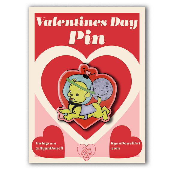 Valentine's Day Space Puppy Lapel Pin
