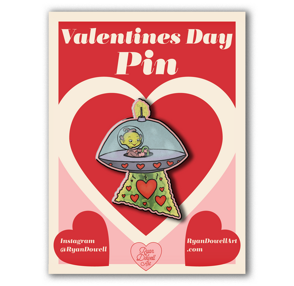 Valentine's Day Space Alien UFO Lapel Pin