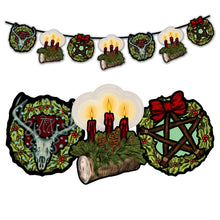 Load image into Gallery viewer, Retro Style Yule Holiday Cutout Decoration Hanging Banner