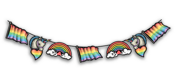 Retro Inspired Pride Hanging Banner