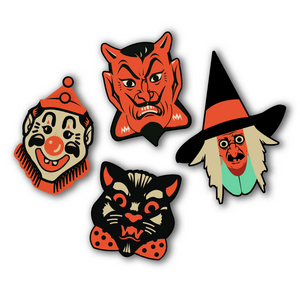 Set of 4 Vintage Inspired Halloween Heads Cutout Set