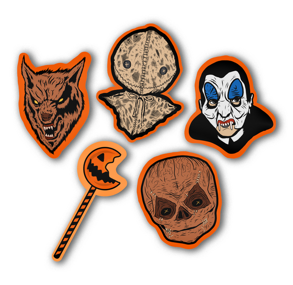 Set of 5 Trick r Treat Retro Inspired Halloween Cutout Art Print Decoration Set