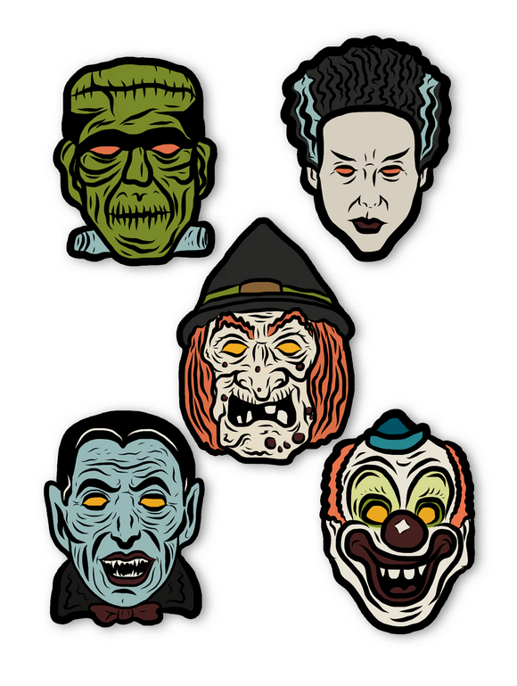 Set of 5 Retro Halloween Masks Cutout Decoration Set - Series 1