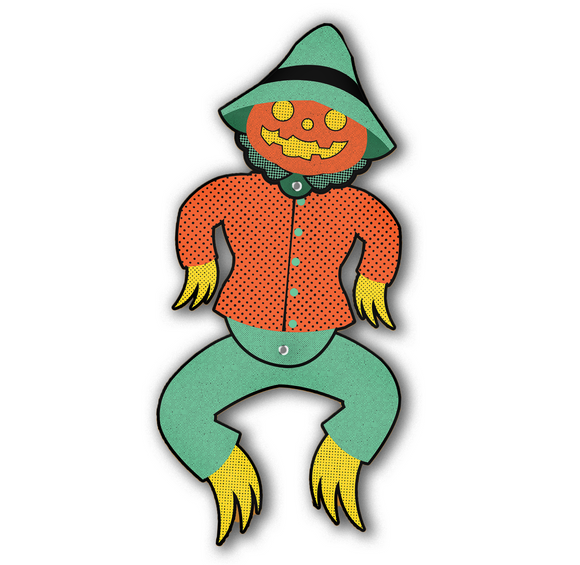 Dancing Halloween Pumpkin Head Scarecrow Jointed Cutout