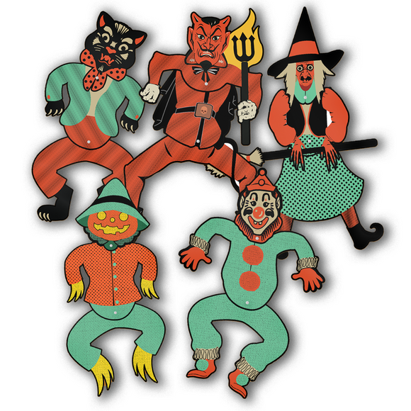 Dancing Jointed Halloween Cutout Figure Full Set of 5