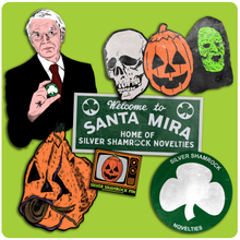 Load image into Gallery viewer, March Horror Release - Halloween III Silver Shamrock Retro Style Decoration & Pin Set