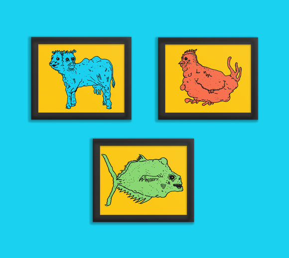 Mutant Animals Art Prints - Two Headed Cow, GMO Chicken or Radiation Fish