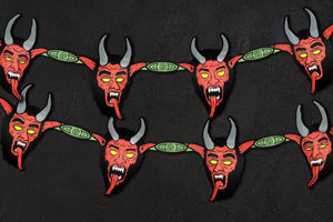 Large Vintage Style Hanging Jointed Krampus Head Christmas Banner Garland Cutout Set