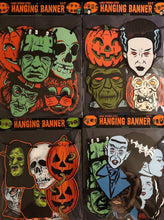 Load image into Gallery viewer, Retro Inspired Vacuform Plastic Mask Halloween Character Banner