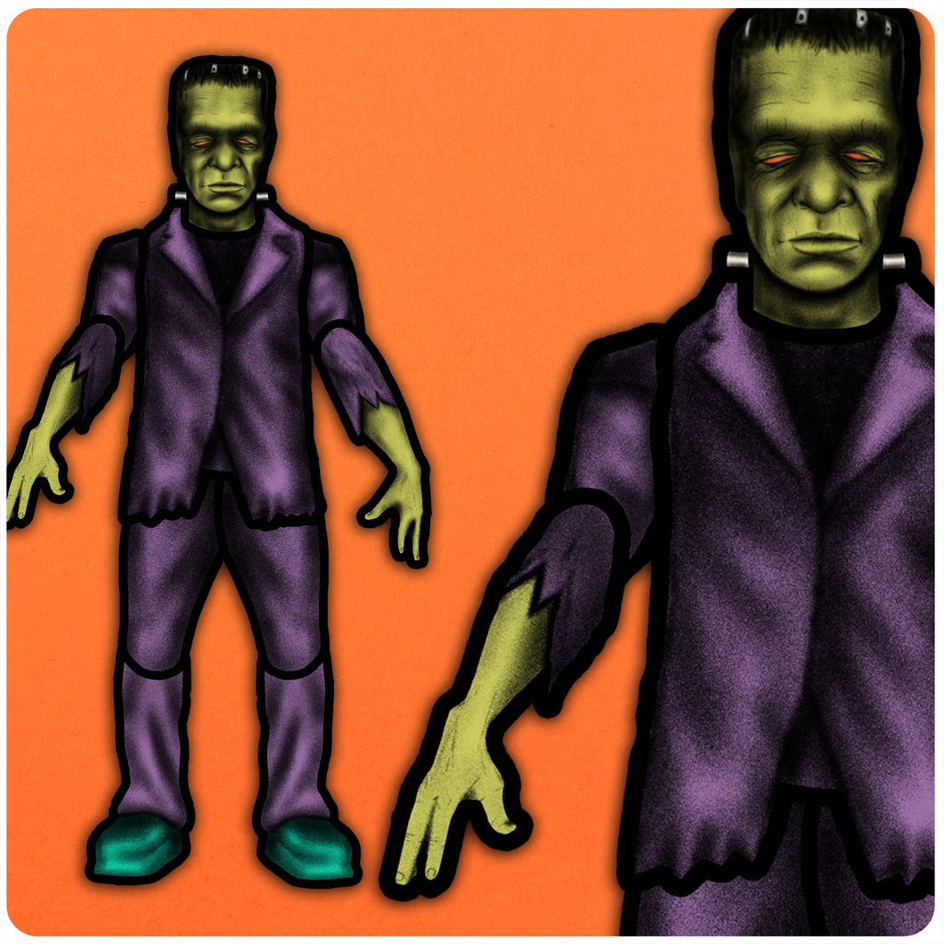 Retro Inspired Halloween Jointed Cutout Frankenstein Monster Decoration