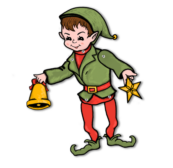 Jointed Christmas Elf Cutout