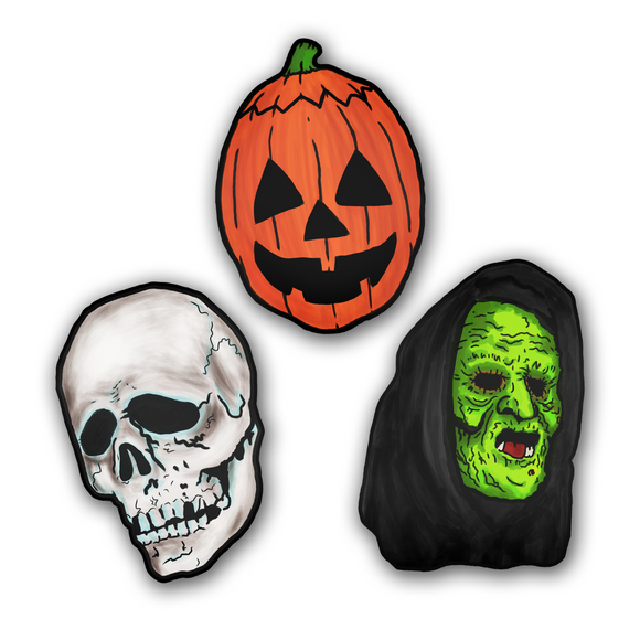 Set of 3 Halloween III Season of the Witch Silver Shamrock Masks Cutout Set