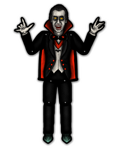 Retro Inspired Halloween Jointed Count Dracula Cutout Decoration
